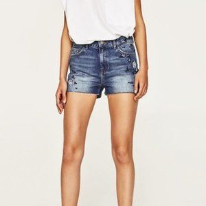 Zara Beaded & Embroidered Denim Shorts